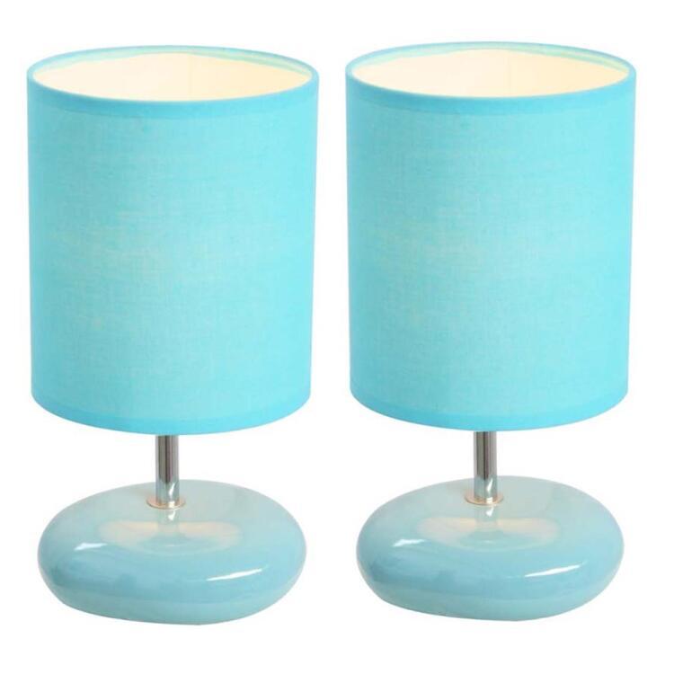 Simple Designs Stonies Small Stone Look Lamp [Item # LT2005-BLU-2PK]