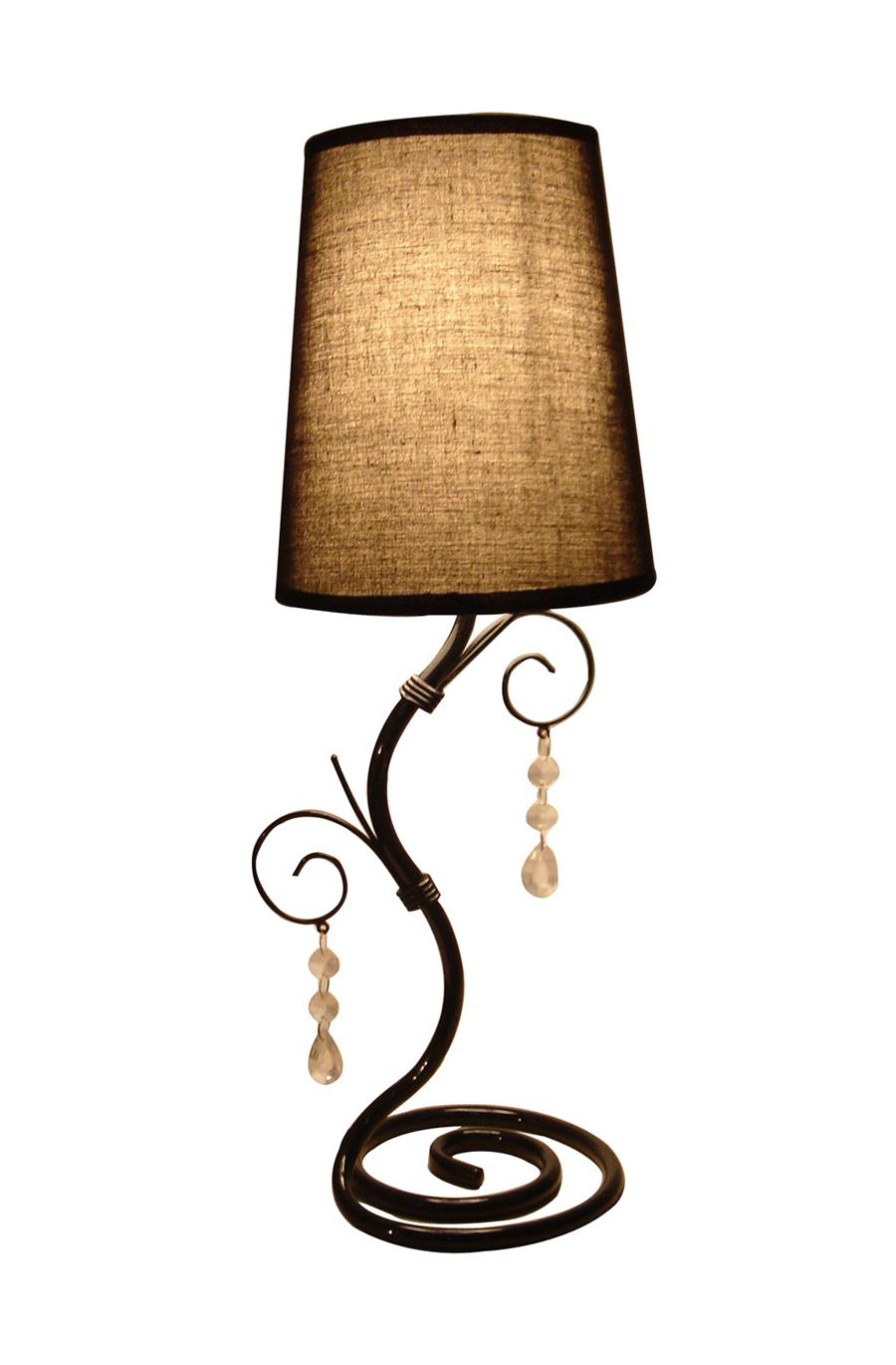 Twisted Vine Table Lamp with Brown Shade and Hanging Beads