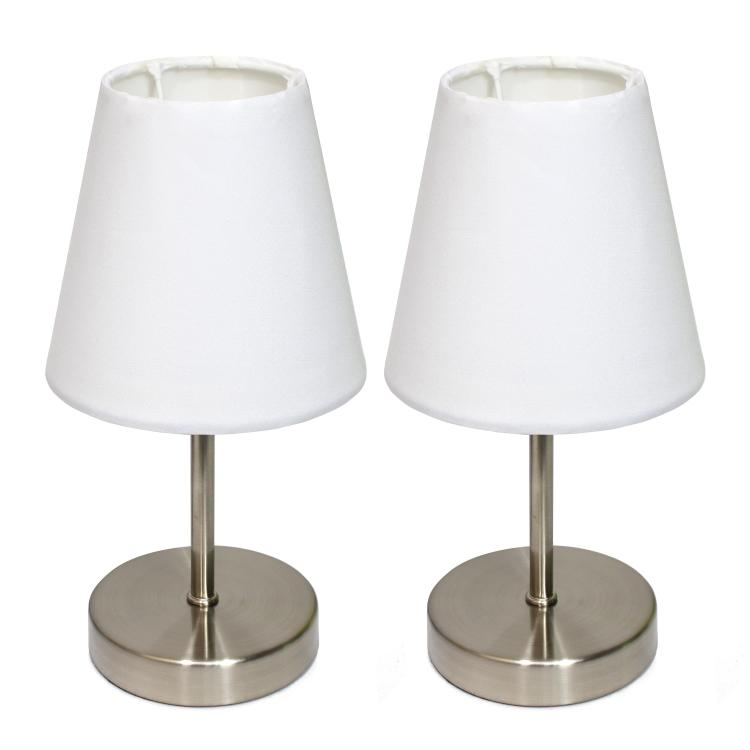 Simple Designs Sand Nickel Mini Basic Table Lamp With Fabric Shade