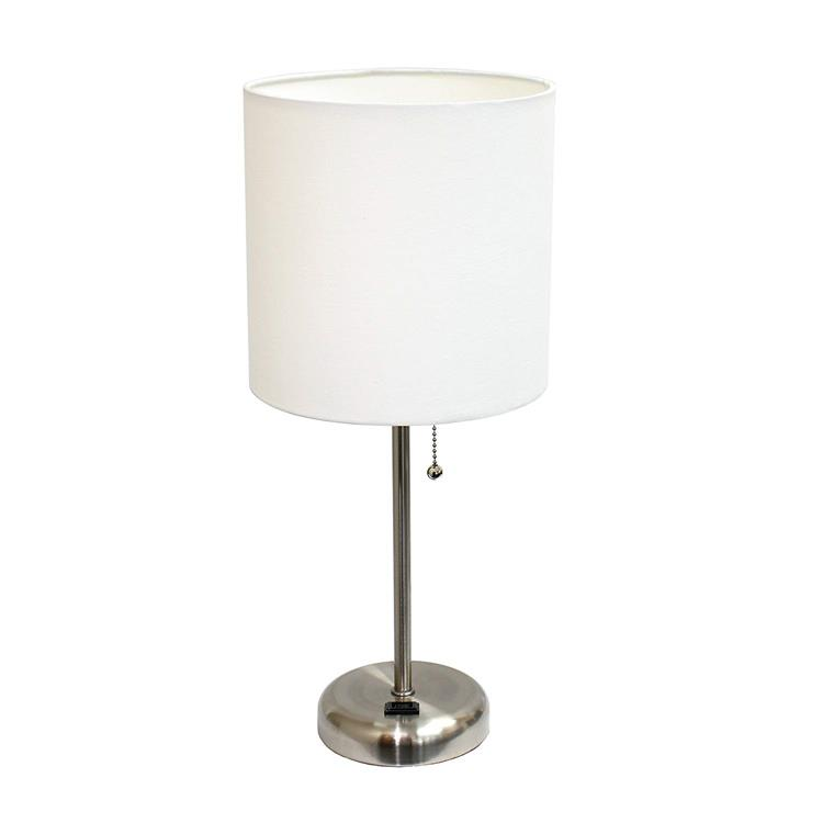 LimeLights Stick Lamp With Charging Outlet and Fabric Shade