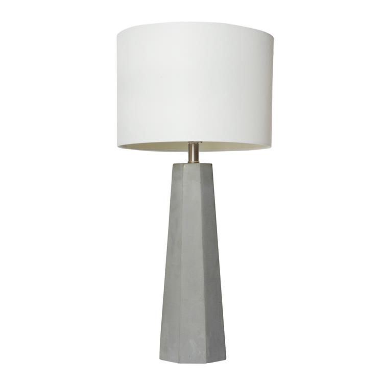 Elegant Designs Concrete Table Lamp with Fabric Shade