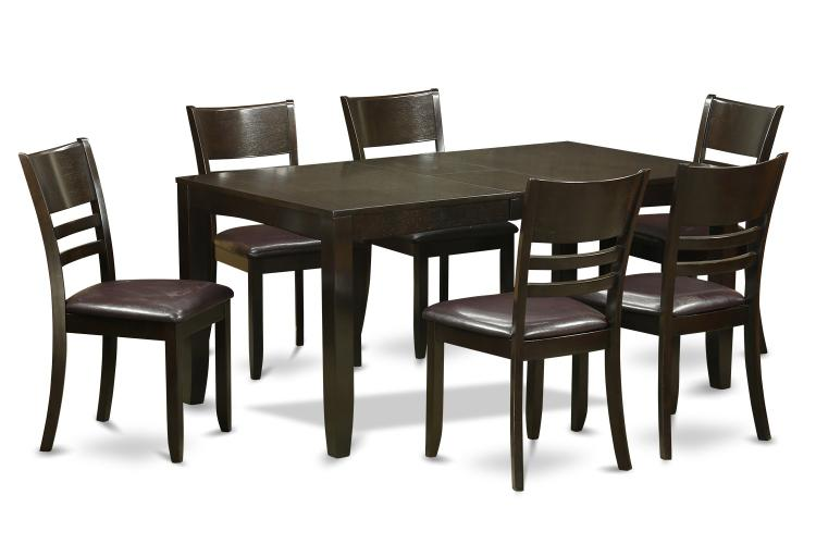 East West Furniture Dining Set-Table Table With Leaf And Dining Chairs [Item # LYFD7-CAP-LC]