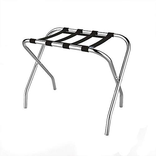 Chrome Folding Luggage Rack and Suitcase Stand Durable Folding Bag Holder with Black Nylon Straps by Lavish Home