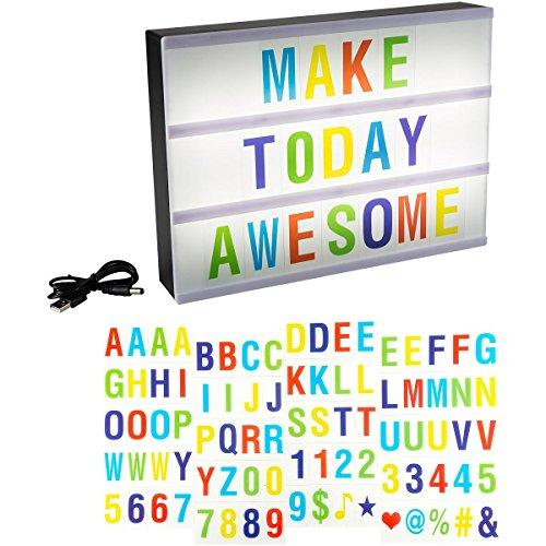 LED Cinematic Light Decorative Box Sign Interchangeable Multicolor Letters Numbers Symbols A4 Size Marquee with USB Cable (85 Piece) By Lavish Home