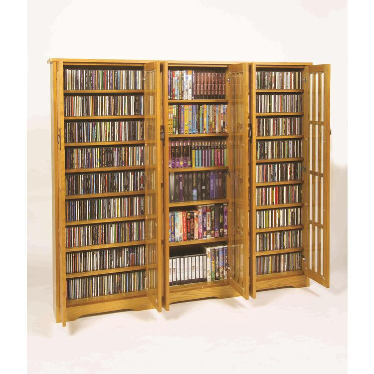 Leslie Dame Inlaid Glass Mission Multimedia Cabinet