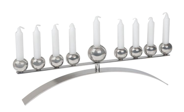Stainless Steel Menorah with Spheres Over Arch
