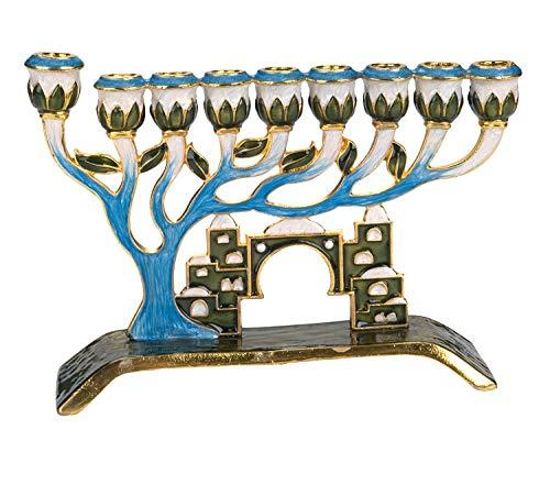 Menorah with Tree of Life and Crystal accents of Old Jerusalem