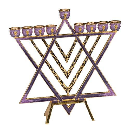 Menorah with Brass Modern Star of David