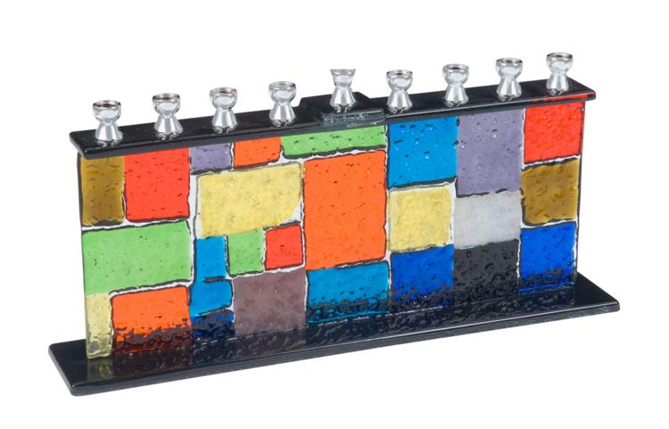 Multi Colored Fused Glass Menorah with Square Shapes