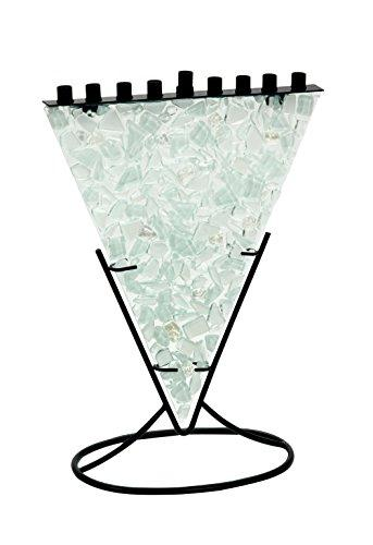 Multi Colored White, Clear and soft Aqua Tones of Fused Glass Triangle Shaped Menorah