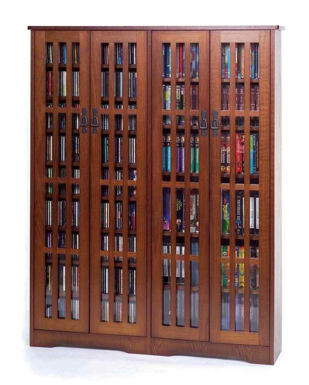 Leslie Dame Inlaid Glass Mission Multimedia Cabinet (M-954 Series)