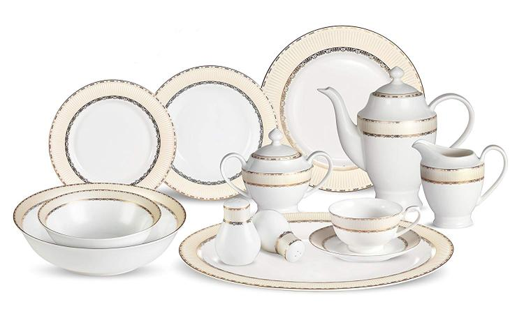 57 Piece Dinnerware Set-Bone China Service for 8-Margaret