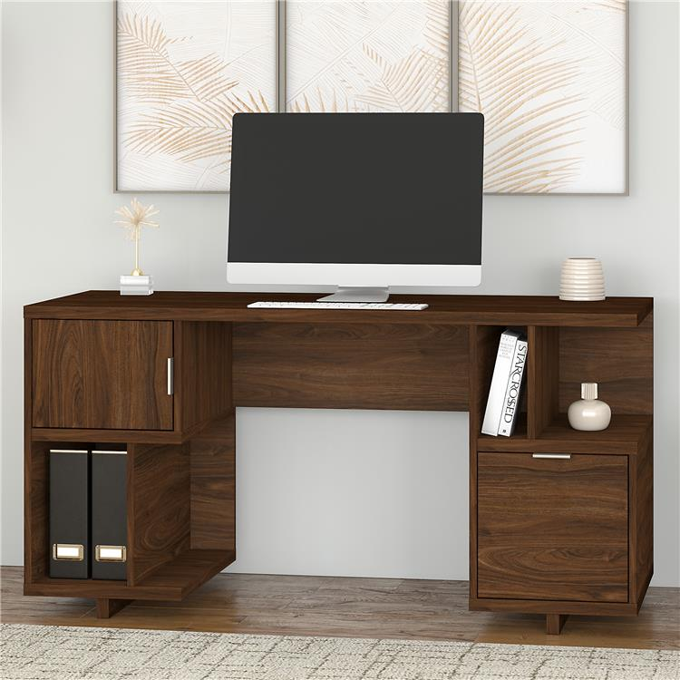 Kathy Ireland Home by Bush Furniture Madison Avenue 60W Computer Desk with Drawer, Storage Shelves and Door