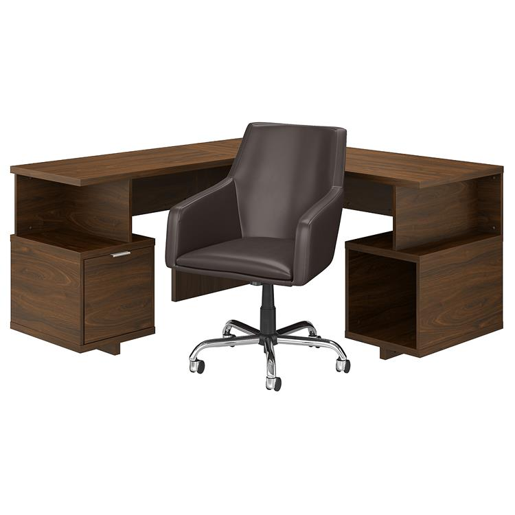 Kathy Ireland Home by Bush Furniture Madison Avenue 60W L Shaped Desk and Chair Set