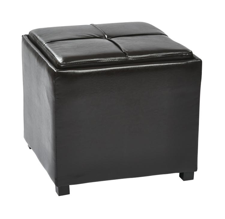 Nesting Storage Ottomans Faux Leather With Tray Fully Assembled