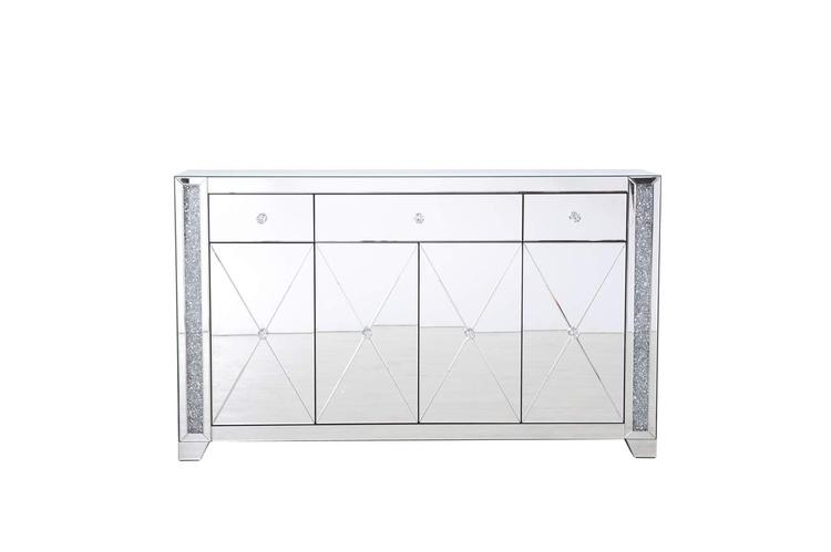 Elegant Decor 60 in silver crystal mirrored credenza