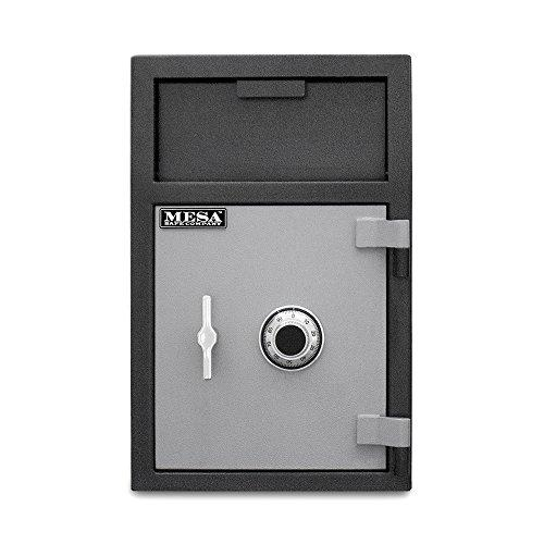 MESA MFL25C-ILK 2.1 cu ft Depository Safe with Interior Locker, All Steel with Combination Lock, Two tone Black & Grey