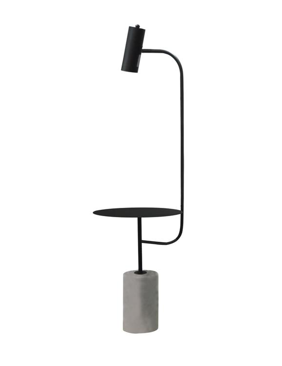 Bethel  a Matte Black Metal Frame Floor Lamp/Side Table with a Concrete Base