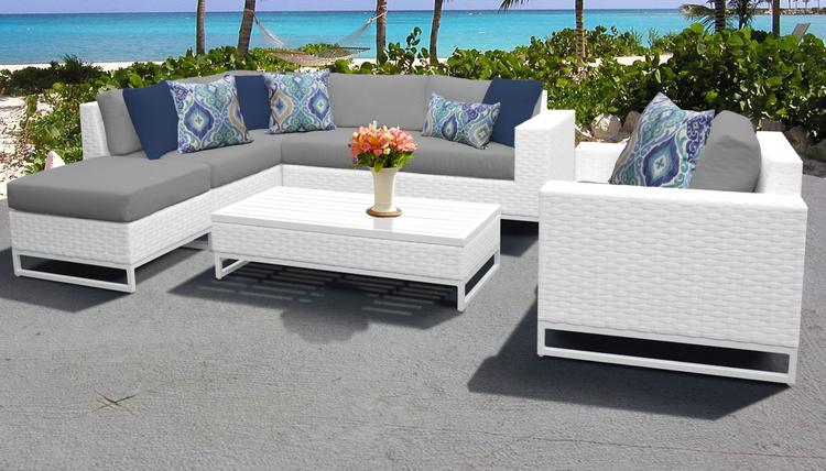 Miami 7 Piece Outdoor Wicker Patio Furniture Set 07f