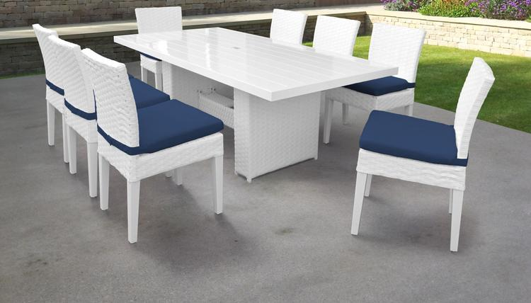 Miami Rectangular Outdoor Patio Dining Table with 8 Armless Chairs [Item # MIAMI-DTREC-KIT-8C-NAVY]