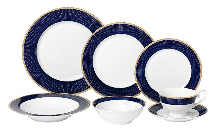 Lorren Home Trends 28 Piece Dinnerware Set-New Bone China Service for 4 People-Midnight