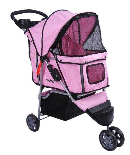 3-Wheel Front & Rear Entry MK0015A Pet Stroller (Pink)