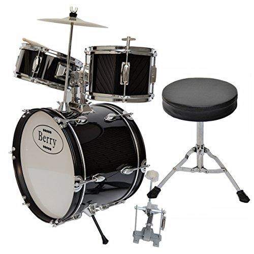 Complete Kids Large Drum Set with Cymbal, Stool, and Sticks - Black