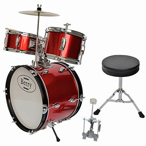 Complete Kids Large Drum Set with Cymbal, Stool, and Sticks - Red