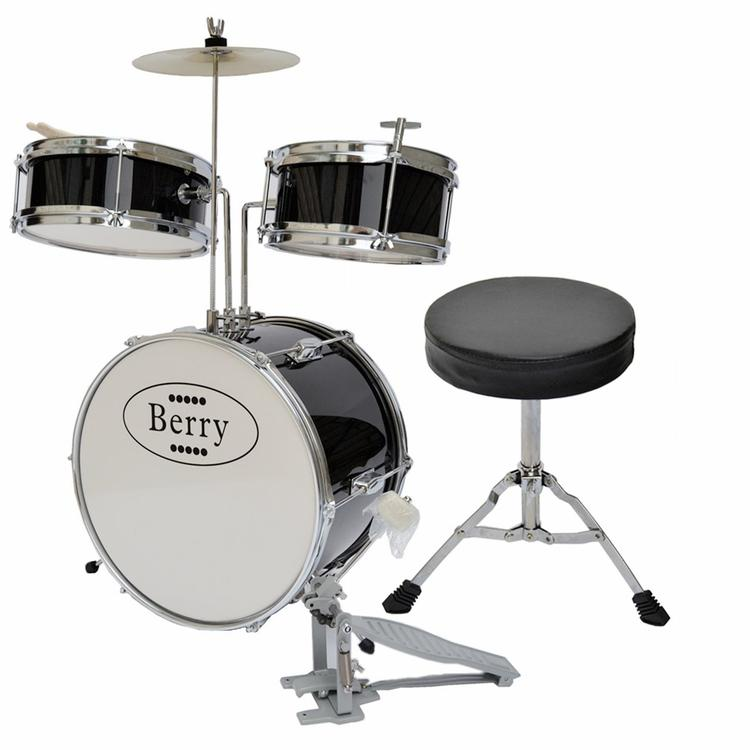 Complete Kids Medium Drum Set with Cymbal, Stool, and Sticks - Black