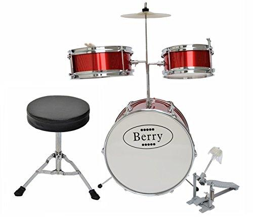 Complete Kids Medium Drum Set with Cymbal, Stool, and Sticks - Red