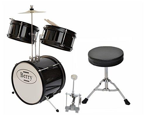 Complete Kids Small Drum Set with Cymbal, Stool, and Sticks - Black