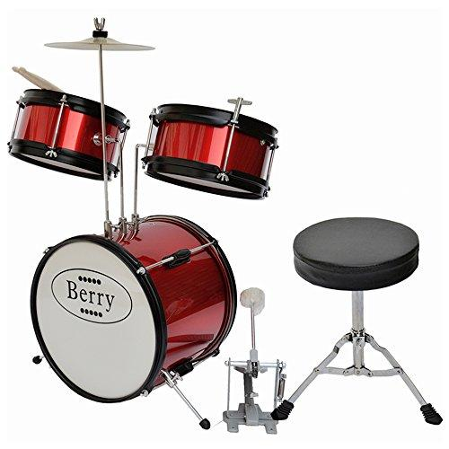 Complete Kids Small Drum Set with Cymbal, Stool, and Sticks - Red
