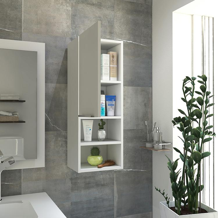 TUHOME Wall Cabinet/Medicine Cabinet for The Bathroom, with a Smooth Modern Look, 2 Concealed Shelves and 2 Open Shelves