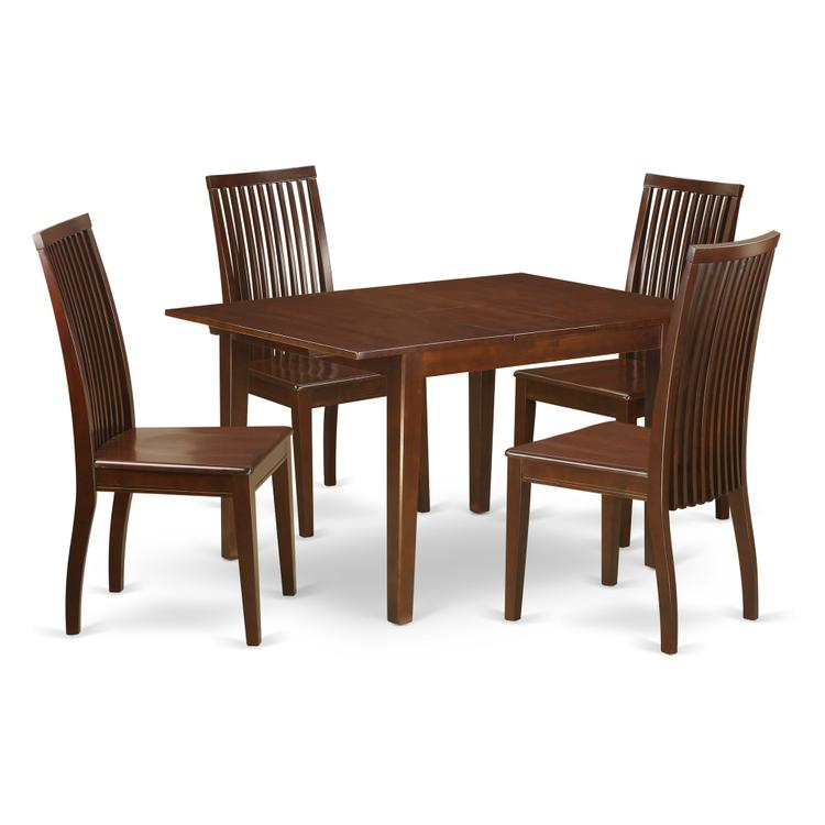 East West Furniture MLIP5-MAH-W 5 Piece kitchen nook dining set-kitchen table and 4 kitchen dining chairs