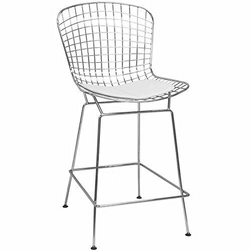 Mod Made Chrome Wire Counter Stool [Item # MM-8033LS-White]