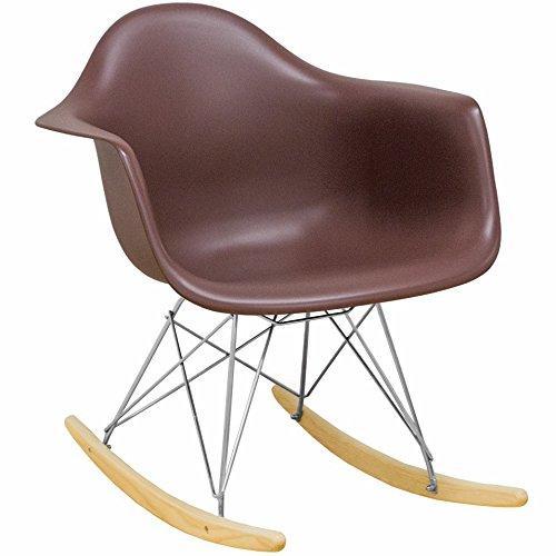 Mod Made Mid Century Modern Paris Tower Rocker Rocking Chair, Chocolate