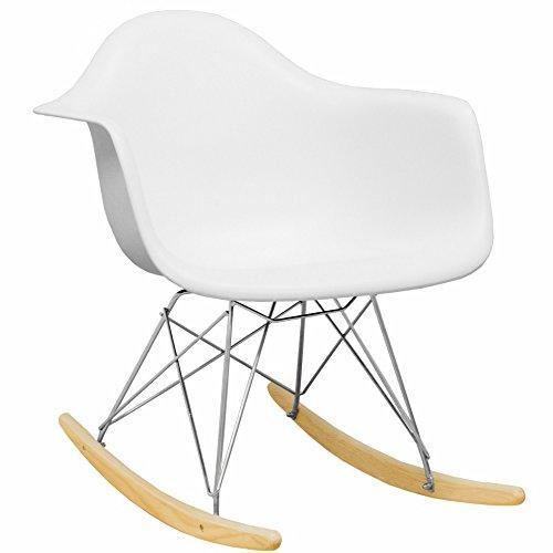 Mod Made Mid Century Modern Paris Tower Rocker Rocking Chair, White