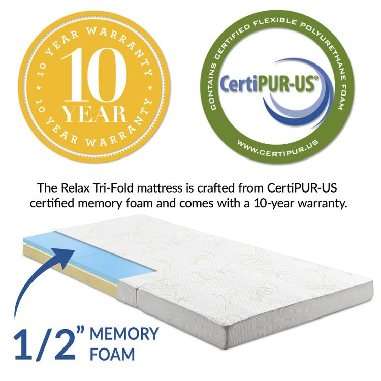 Relax 39 x 80 x 4 (Twin XL) Tri-Fold Mattress