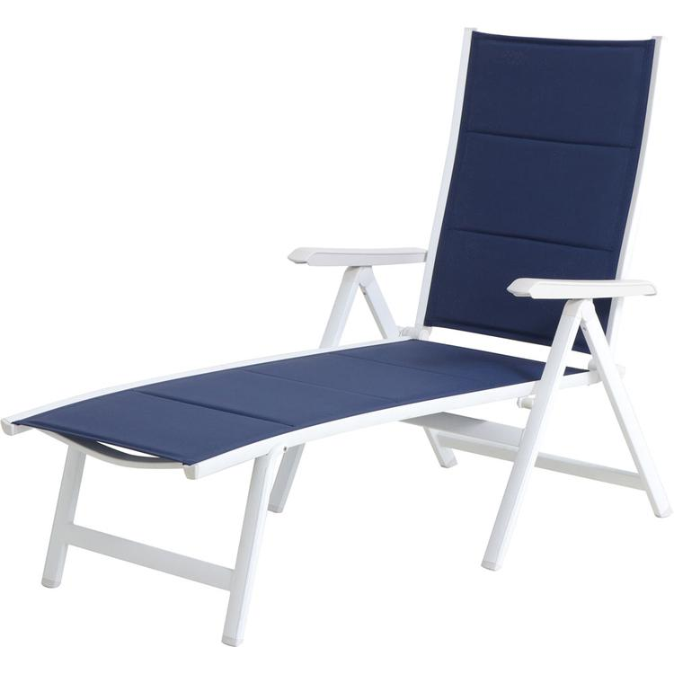 Mod Furniture Everson Padded Sling Folding Chaise Lounge in Navy/White