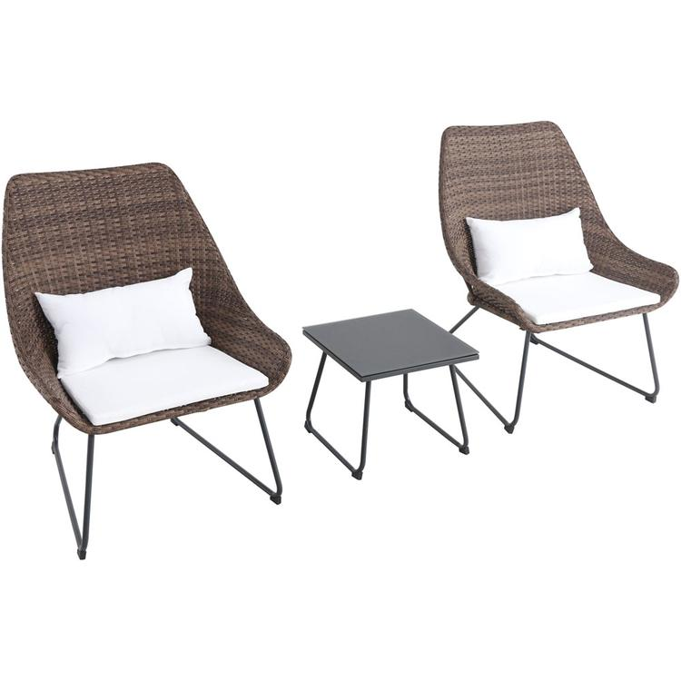 Mod Furniture Montauk 3-Piece Wicker Scoop Chat Set with White Cushions