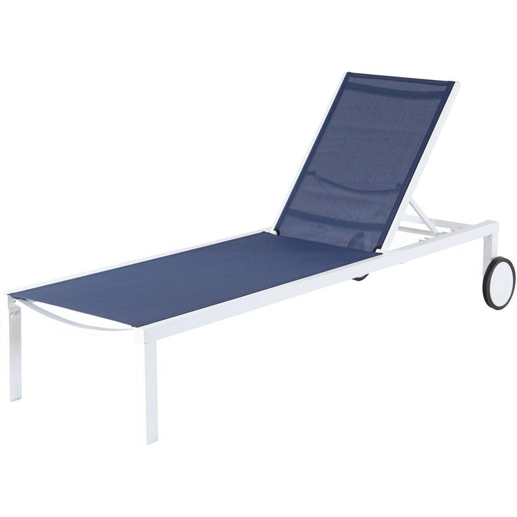 Mod Furniture Peyton Sling Armless Chaise Lounge in White/Navy