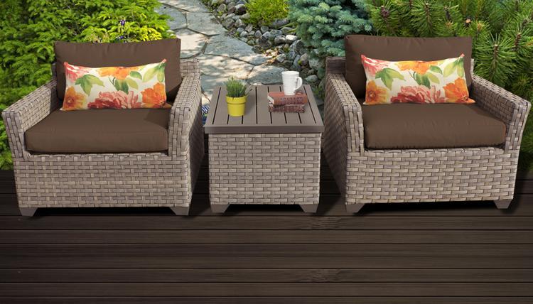 Monterey 3 Piece Outdoor Wicker Patio Furniture Set 03a
