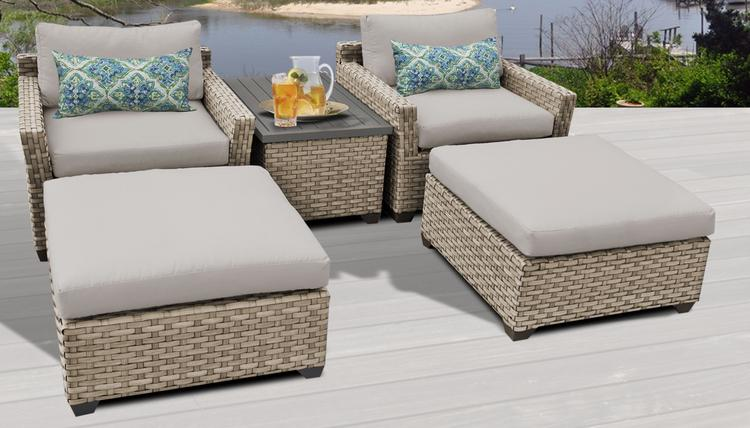 Monterey 5 Piece Outdoor Wicker Patio Furniture Set 05a