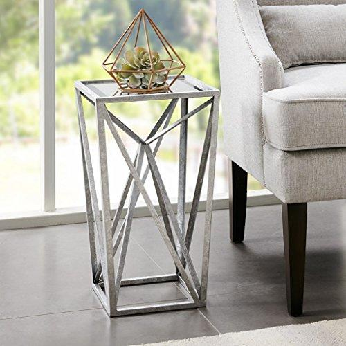 Silver Angular Mirror Accent Table