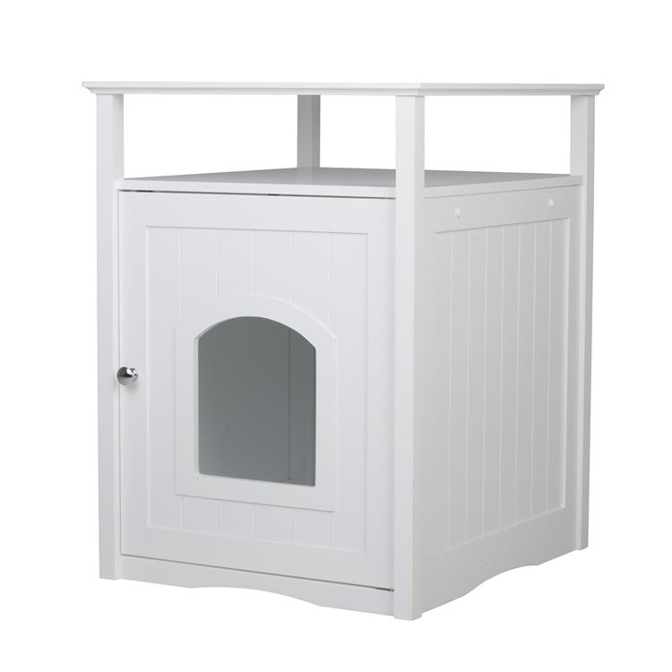Cat Washroom Litter Box Cover / Night Stand Pet House, White