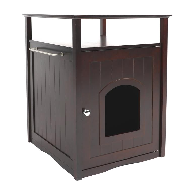 Cat Washroom Litter Box Cover / Night Stand Pet House, Espresso