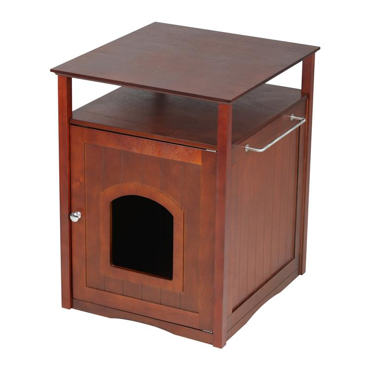 Cat Washroom Litter Box Cover / Night Stand Pet House, Walnut