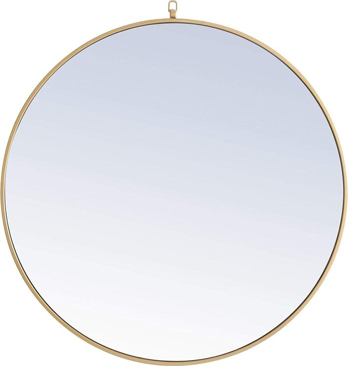 Living District Metal frame Round Mirror with decorative hook 36 inch Brass finish