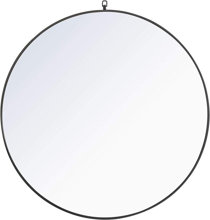 Living District Metal frame Round Mirror with decorative hook 42 inch Black finish