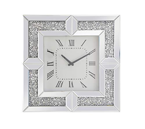 Living District 20 inch Square Crystal Wall Clock Silver Royal Cut Crystal [Item # MR9208]